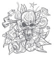 contour with a skull money and leaves a sketch of vector image vector image