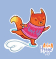 cute baby fox skating cute decorative patch in vector image vector image
