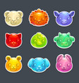 cute jelly animals faces vector image vector image