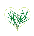 Fresh Green Grass in A Heart Shape vector image vector image