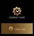 gear cog wheel check mark gold logo vector image vector image