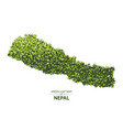 green leaf map of nepal of a forest vector image