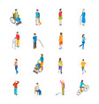 isometric disabled people characters icon set vector image