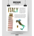 Italy travel background Brochure with Italy map vector image vector image