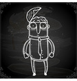 Man with Open Brain Drawing on Chalk Board vector image vector image