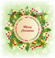 Merry Christmas Card with Traditional Decoration vector image vector image