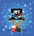 movie sign with icon set entertainment on blue vector image