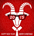 New year red card with goat and glasses business vector image vector image