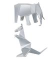 Paper elephant kangaroo vector image vector image