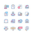 real estate - line design style icons set vector image