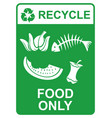 recycle sign - food only vector image vector image