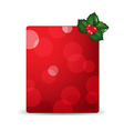 Red Blank Gift Tag And Holly Berry vector image vector image