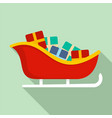 santa sleigh icon flat style vector image vector image