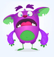 scared funny cartoon monster vector image vector image