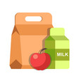 school lunch meal box breakfast container and milk vector image vector image