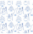 seamless pattern with snowman and spruce vector image vector image