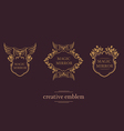 Set creative emblem of the magic mirror with an ow vector image vector image