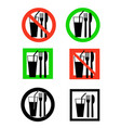 set of eating and drinking icon allowed and vector image