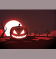 silhouette scary pumpkin zombie hand on moon vector image vector image