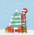small girl with tree christmas vector image vector image