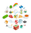 spring icons set isometric style vector image