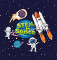 stem in space logo on saturn in space vector image vector image