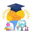 university hat on brain metaphor learning vector image vector image