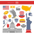 usa culture symbol set europe travel usa vector image vector image