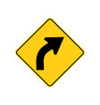 usa traffic road signwarning of a right curve vector image vector image