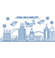 usa utah salt lake city winter city skyline vector image vector image