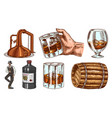 vintage whiskey set wooden barrel scotch and vector image vector image