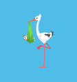 white stork carrying newborn baby design template vector image