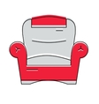 Red comfortable armchair logo or icon vector image