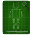 3d model of the robot on a green vector image vector image