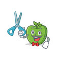 barber green apple character cartoon vector image vector image