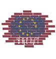 Brexit concept with EU flag on the brick wall vector image