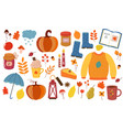 bright colorful cartoon flat autumn set vector image vector image