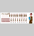 businesswoman character model sheet with walk vector image vector image