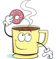 Cartoon Cup of Coffee and Donut vector image vector image