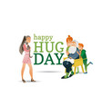 cartoon happy hug day family characters vector image