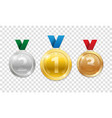 champion award medals for sport winner prize set vector image