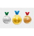 champion award medals for sport winner prize set vector image vector image