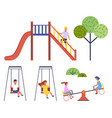 children at playground collection boy at slide vector image