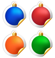 Christmas balls stickers isolated on white vector image vector image