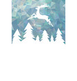 christmas card with geometric forest and deer vector image vector image