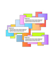 color graphic with three boxes vector image vector image