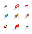 country flag icon set isometric style vector image vector image