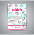 cupcake newsletter with handdrawn cupcakes and vector image vector image