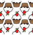 cupcake pattern white background vector image vector image