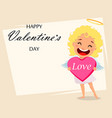 cupid holds big pink heart vector image
